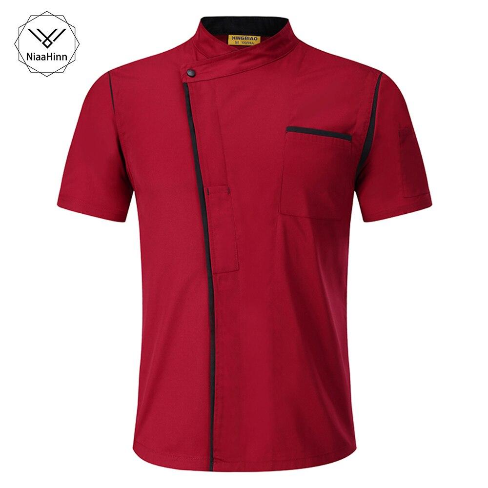 Chef Jacket Women Men Short Sleeve Cook Shirt Hotel Kitchen Coffee Cake Shop Food Service Work Clothes Red Food Chef Uniform