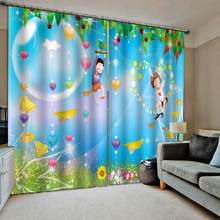 Blue cartoon curtains kids curtain 3D Window Curtain Dinosaur print Luxury Blackout For Living Room(China)
