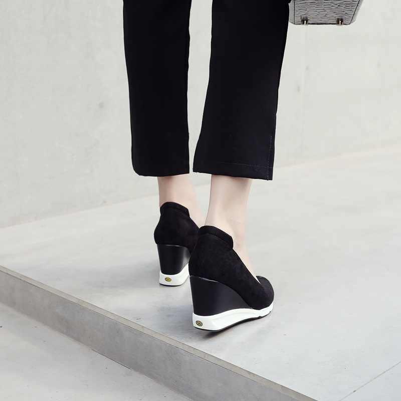 EGONERY frauen neue heels schuhe spitz super hohe keile plattform flach frühling concise lässige wein rot und schwarz dame schuhe