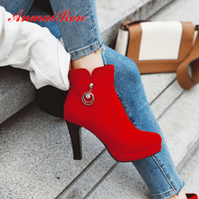 ANMAIRON String Bead Cow Suede Super High Ankle Boots Spike Heels Zip PU Thigh Round Toe Winter Beige Women Red