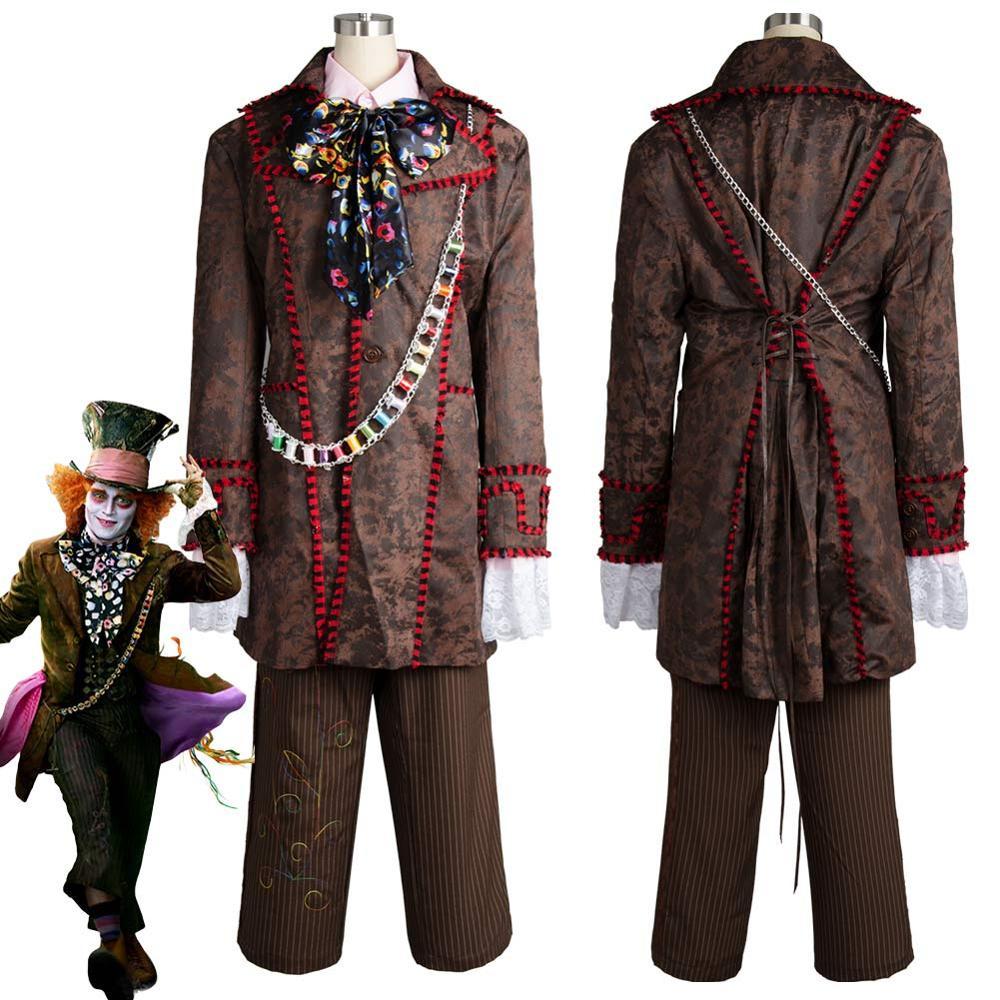 Alice In Wonderland Johnny Depp Mad Hatter Cosplay Costume Jacket Adult Men Halloween Carnival Costume