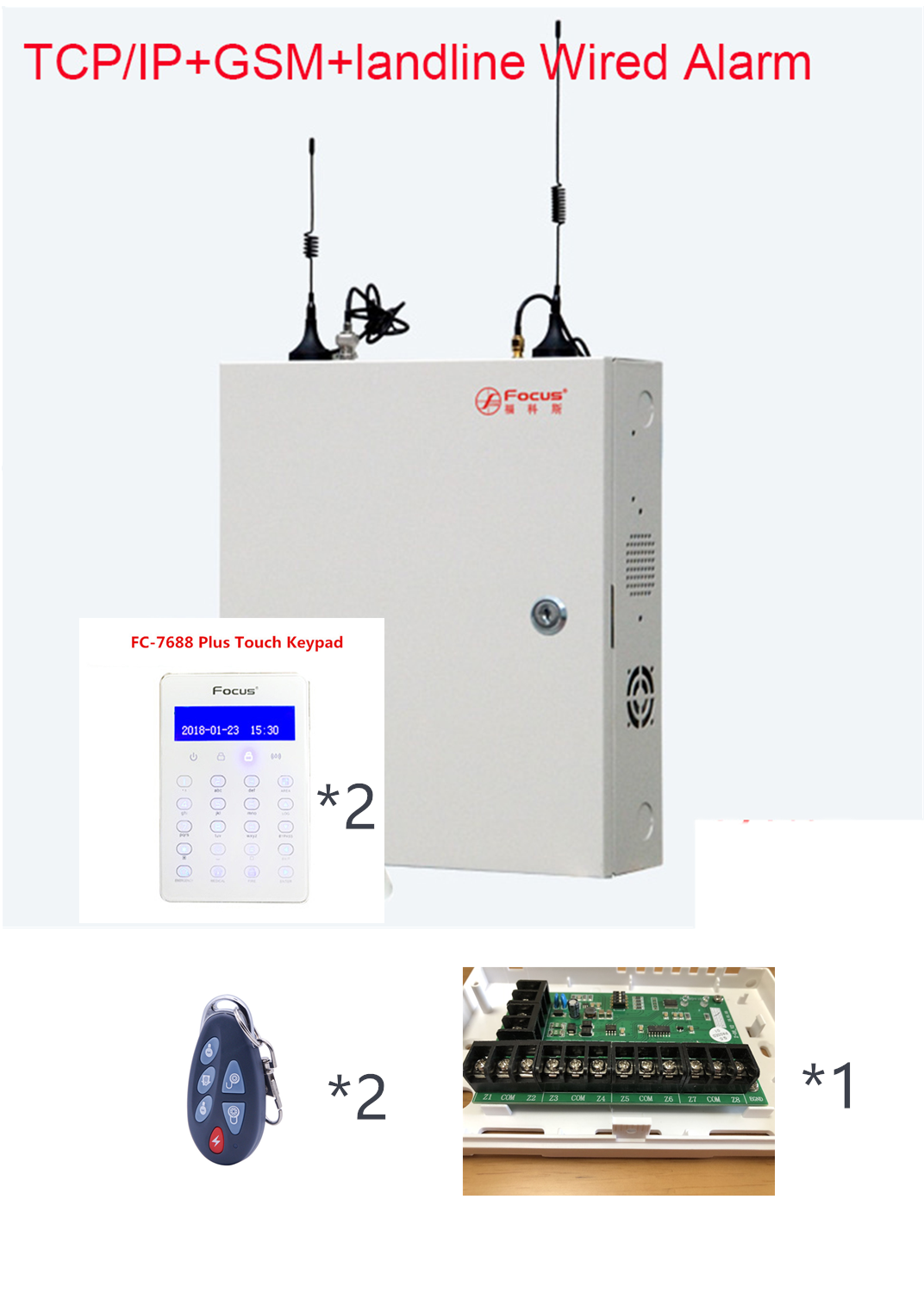 DIY Industrial Metal Box Wired Alarm TCP IP Alarm Smart Home GSM Alarm System 96 wired zone With WebIE and App Control