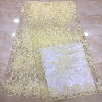 Madison French Lace Fabrics With Sequins African Lace Fabric Embroidery Nigerian Lace Fabric 2019 High Quality Lace For Party