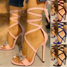 Brokatowe cyrkonie damskie czółenka kryształowe Bowknot letnie buty damskie szpilki z otwartym czubkiem na imprezę bal buty tanie tanio hengsong Pasek na kostkę CN (pochodzenie) Z niewielkim szpicem Super Wysokiej (8cm-up) Dobrze pasuje do rozmiaru wybierz swój normalny rozmiar