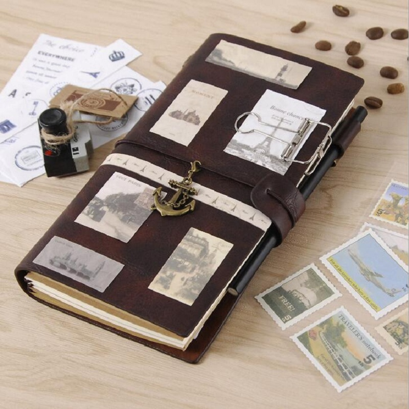 Viajante de couro notebook planejadores criativo diy vintage viagem diário notepads tn sprial gravação diário memorandos presentes