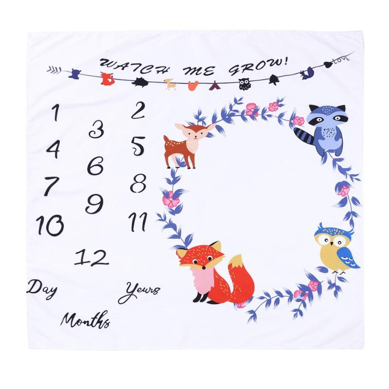 Baby Color Fox Wreath Blanket Stroller Photography Swaddle Wrap Newborn Bathing Towels Wreath Backdrop Prop Accessories