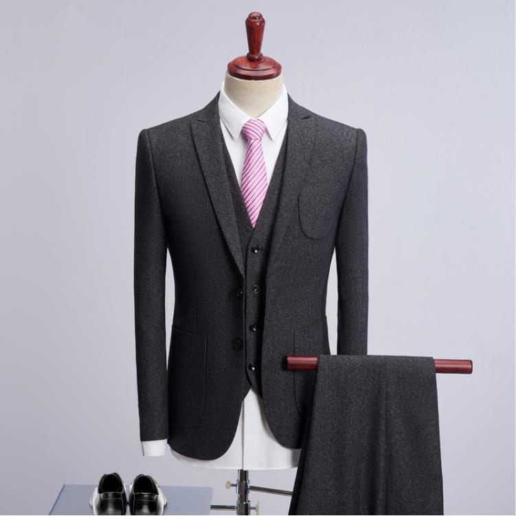 Suit Men Single Breasted Woolen Suits Men's Slim Fit Business Wedding Suit Men Tuxedo Classic Suits 3 Pieces Terno Masculino