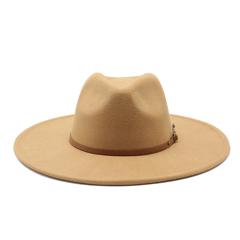 Quality Big Edge Wool Fedora Hat Women Men Imitation Wool Felt Hats With Metal Chain Decor Panama Fedoras Chapeau Sombrero