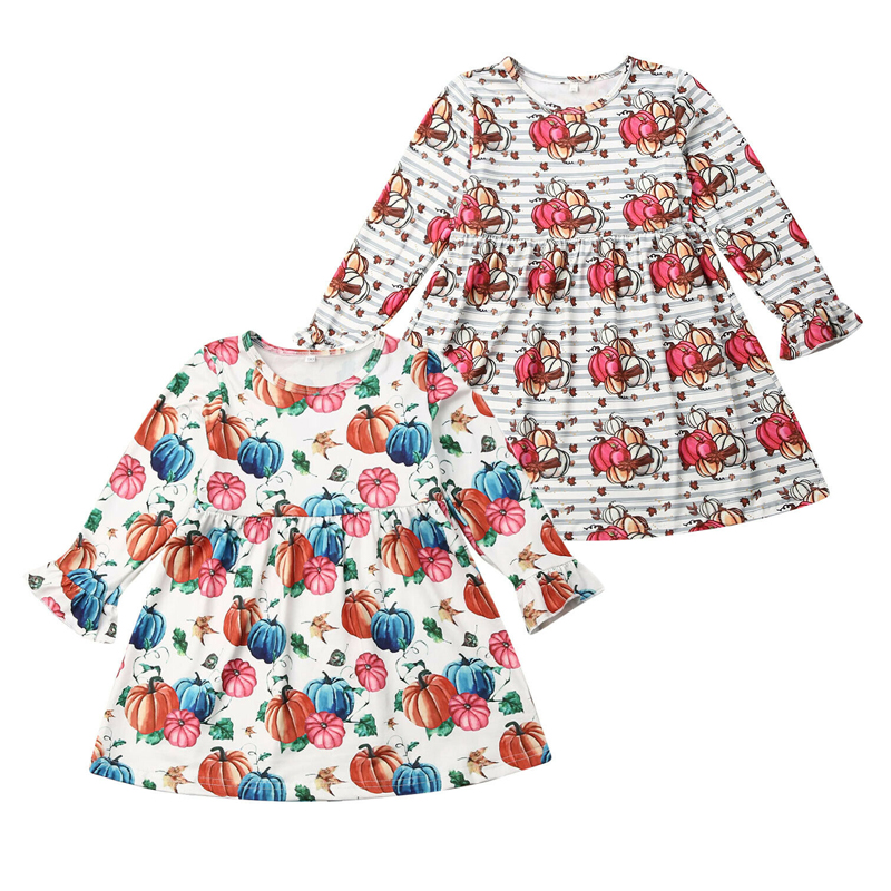 NEW Kid Baby Flower Dresses Halloween Costume Toddler Cute Pumpkin Printed Flare Sleeve Mini Dress Clothes For Children 1-6Years