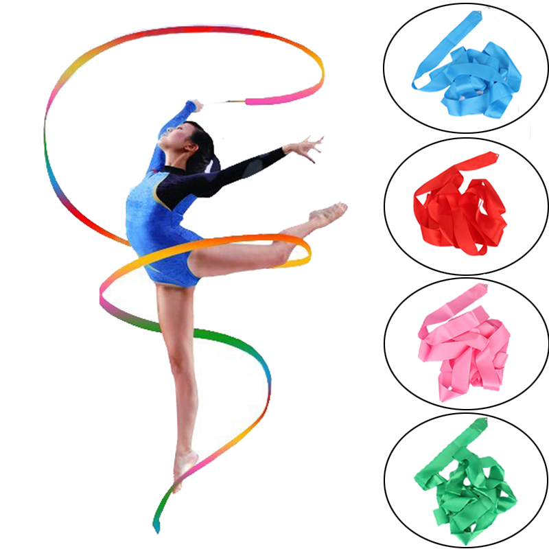 2 Meters 4 Meters Colorful Gym Ribbons Dance Ribbon Fitness Rhythmic Art Gymnastic Ballet Streamer Twirling Rod Stick Training