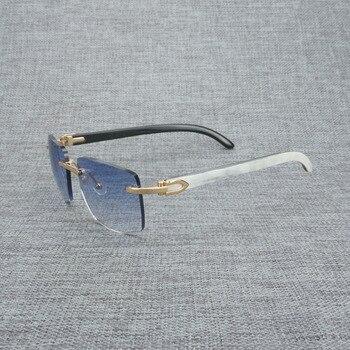 Natural Wood Sunglasses Men Black White Buffalo Horn Sun Glasses Vintage Rimless Square Eyeglasses Oculos Gafas Accessories B