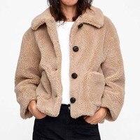 ZADORIN 2019 New Thick Warm Loose Teddy Coat Lamb Fur Jacket Single Breasted Pocket Faux Fur Coat Women Autumn Winter Overcoat