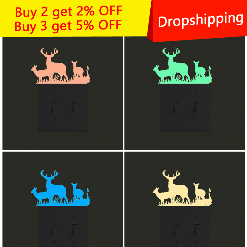 Cartoon Little Deer Family Fluorescent Switch Sticker Glow in the Dark star Wall Stickers For Kids Rooms decoration home decor