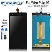 Weicheng para wiko polpa 4g display lcd + montagem da tela de toque para polpa 4g lcd digitador sensor painel vidro ferramentas gratuitas LCDs de celular     -