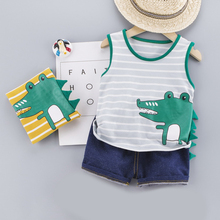 Cute Toddler Boy Summer Set New Cartoon Print Short Sleeve Shirt Pants for Kid Baby Boys Clothes