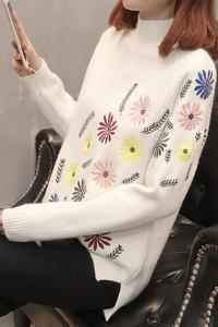 Image 5 - Neploe New Autumn Winter Sweater Elegant Floral Embroidery Pulover Long Sleeve Causal Jumper Female Loose Knitwear Tops