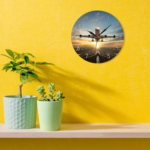 Huge Two Storeys Commercial Jetliner Wall Clock Commercial Airplane Taking of Runway in Dramatic Sunset Light Modern Home Decor
