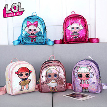 LOL Surprise Dolls New Children Tide School Backpack with Sequins Double Zipper Small Fresh Cute Bag for Gifts Girls