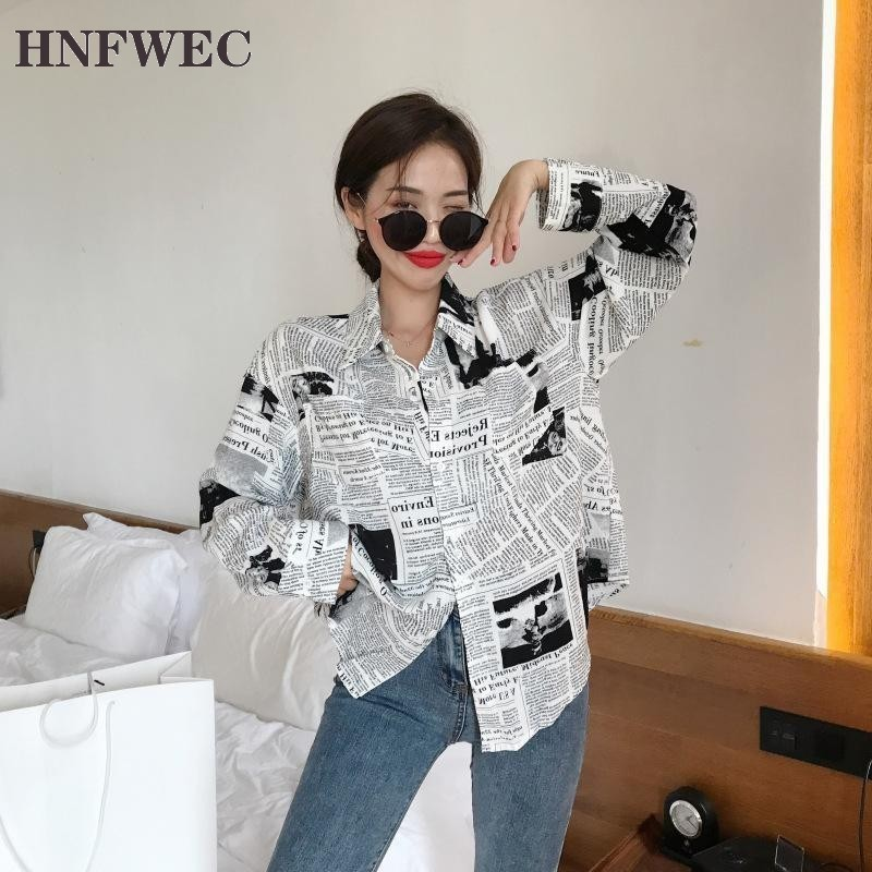 Letters Newspaper Pattern Print Women Shirt Single Breasted Loose Bf Style Top 2020 Autumn Fashion Casual Shirt Plus Size Z056