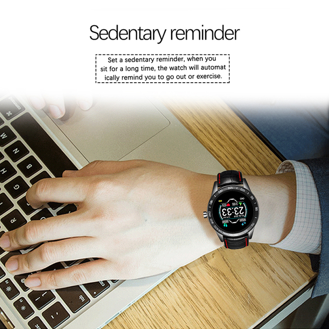 LIGE 2020 New leather waterproof smart watch Men Sport Fitness Heart rate blood pressure tracking smartwatch For iPhone Android 4