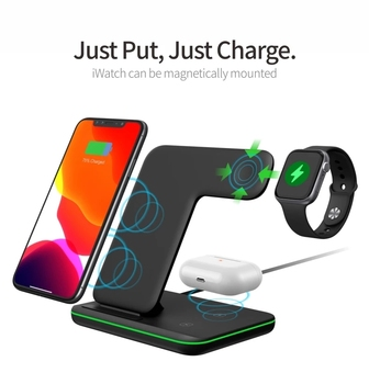 Wireless Charger Stand 15W Qi Fast Charging Dock Station for Apple Watch iWatch 5 AirPods Pro For iPhone 12 11 XS XR X 8 1