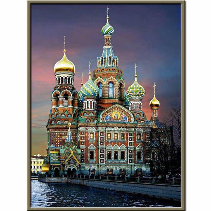5d diy pintura de diamante ponto cruz paisagem, aldeia redonda, diamante, bordado, cenário, outono, diamante, mosaico, arte, decoração de casa