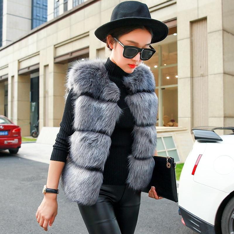 2019 Autumn and Winter New Fashion Women's Imitation Fox Fur Vest Fur Sleeveless Short Vest Jacket Vest Imitation Fur Explosion