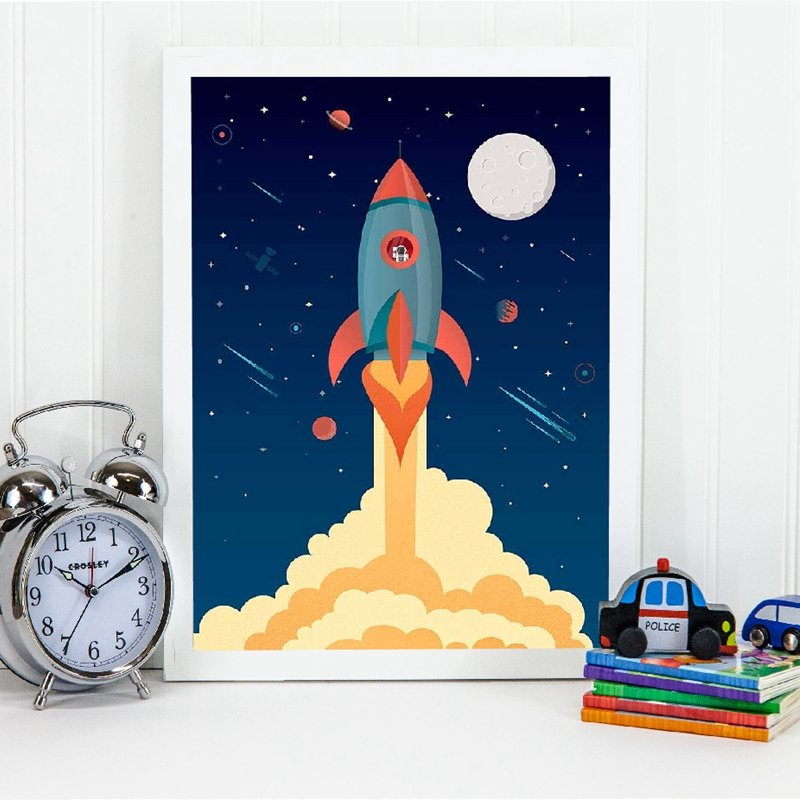 Space Rocket Wall Art Prints Boys Room Decor