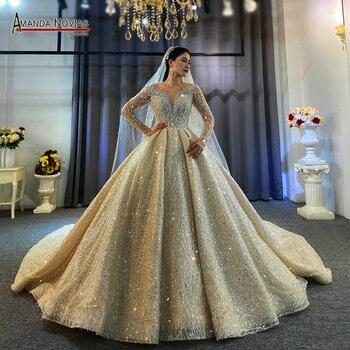 Vestido de novia de satén con cuentas especial de nuevo diseño 2020