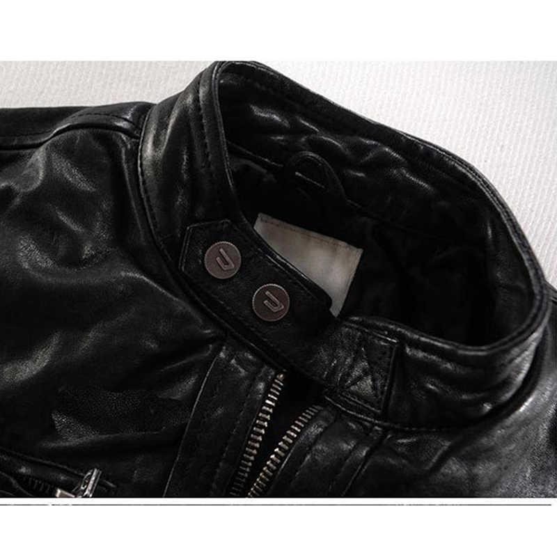 Giacca In Pelle da uomo Genuino di Pecora Vera Pelle di Capra di Marca Maschio Nero Bomber Moto Biker uomo Cappotto di Autunno della Molla Vestiti zlg88