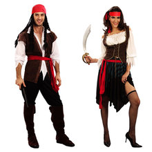 купить Halloween Carnival Party Costume Captain Pirate Costumes Adult Fancy Cosplay Clothing for Women Men Lover по цене 973.06 рублей