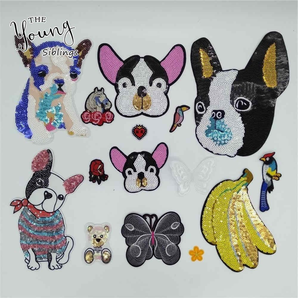 คุณภาพสูง sequins กล้วยสุนัข Hot Melt กาว DIY เหล็กบนแพทช์เย็บปักถักร้อยป้ายเสื้อผ้าอุปกรณ์เสริมหัตถกรรม