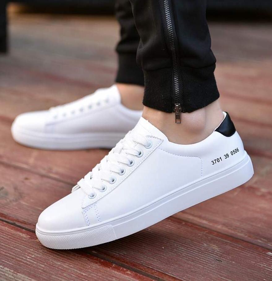 2019 Spring Shoes White Men Sneakers Casual Soft Leather Men Shoes Brand Fashion Male Designer Trainers Shoes Zapatillas Hombres