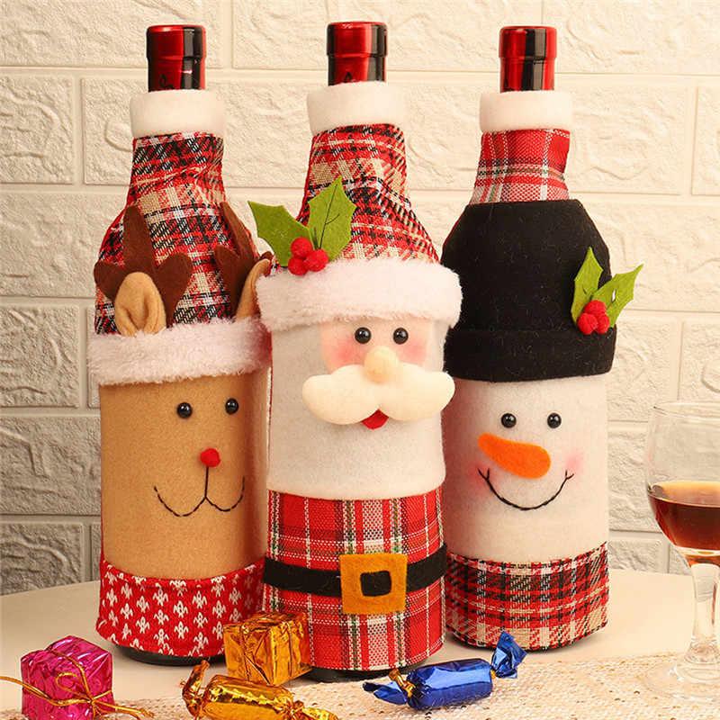 Creative Cartoon Old Man Snowman Elk Wine Bottle Cap Christmas Decorations Sweater Bottles Sets Old Man Clothes Bottle 2020 D Aliexpress