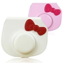 Hello Kitty Camera Case PU Leather Bowknot Cover Bag /w Shoulder Strap for Fujifilm Instax Mini Hello Kitty Instant Film Camera