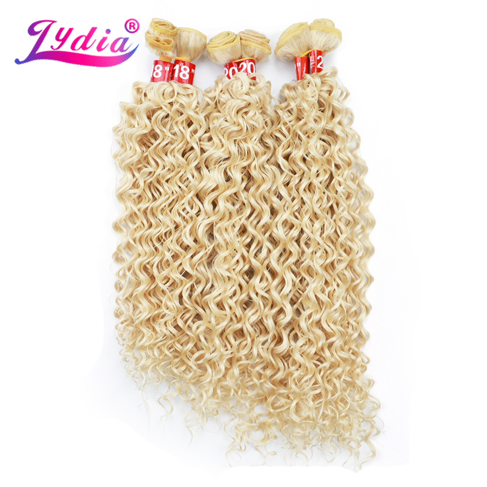 Lydia Hair Bundles Synthetic Sew in Wave Hair Extensions Blonde 6pcs/Pack Kinky Curly Weaving Hair Wefts For Women 220g/Pack