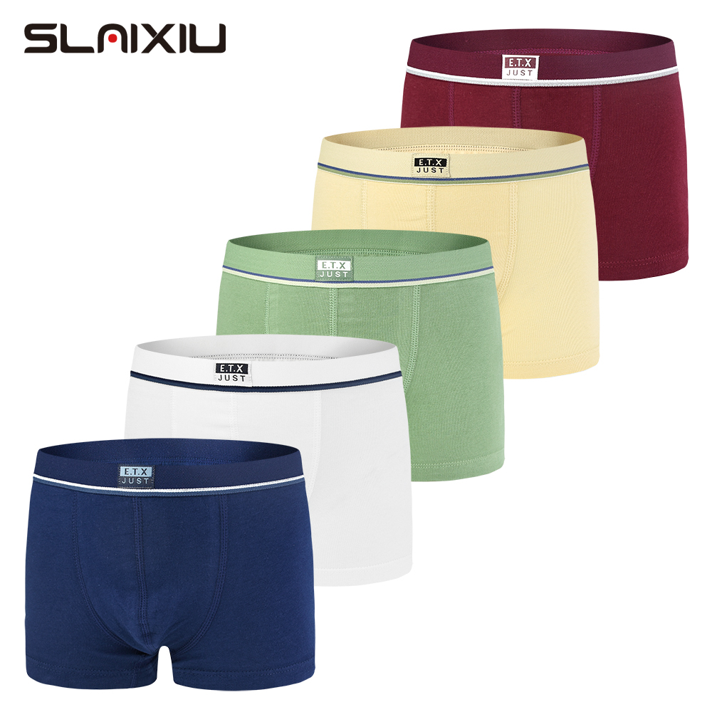 5 Piece/Lot Soft Organic Cotton Kids Underwear Pure Color Baby Boys Boxer For 2-16y Shorts Panties Children's Teenager Underwear