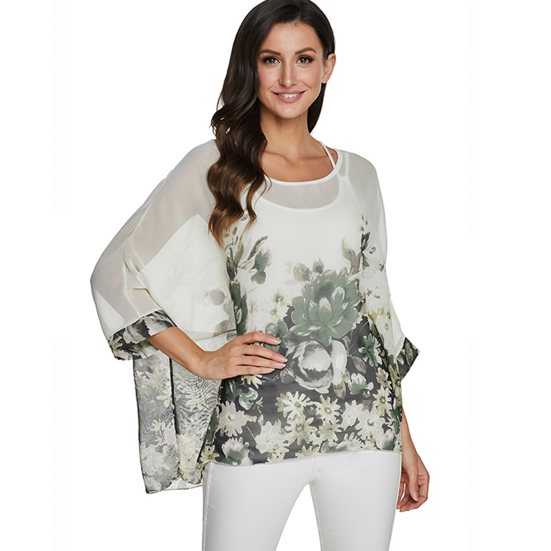 BHflutter New 2020 Chiffon Blouse Shirt Women Fashion Batwing Floral Print Blouse Casual Loose Summer Shirts Tops Plus Size 4XL