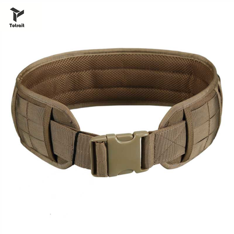 TOtrait Tactical Hunting Molle Battle Belt Military Combat Padded Patrol Belt For Men Waist Support Black/Tan/Green