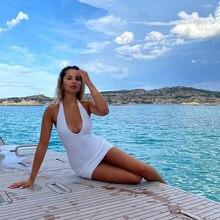 NiMi – robe Blanche col licou pour Femme, Streetwear, Sexy, à la mode, collection automne