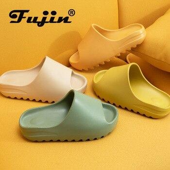 ¡Novedad de 2020! Zapatillas con suela gruesa Fujin para mujer, Zapatillas de casa a la moda para Boca de pescado, zapatillas informales de fondo plano para mujer