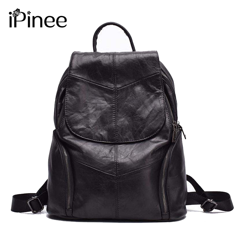 iPinee Hot Sale Really Cowhide Genuine Leather Backpack Fashion Designer Women's Bag Laptop School Bags