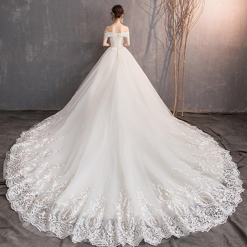 Luxury Wedding Dress Off Shoulder Long Train 2019 New Bridal Dress Long Train Sweetheart Elegant Plus Size Vestido De Noiva