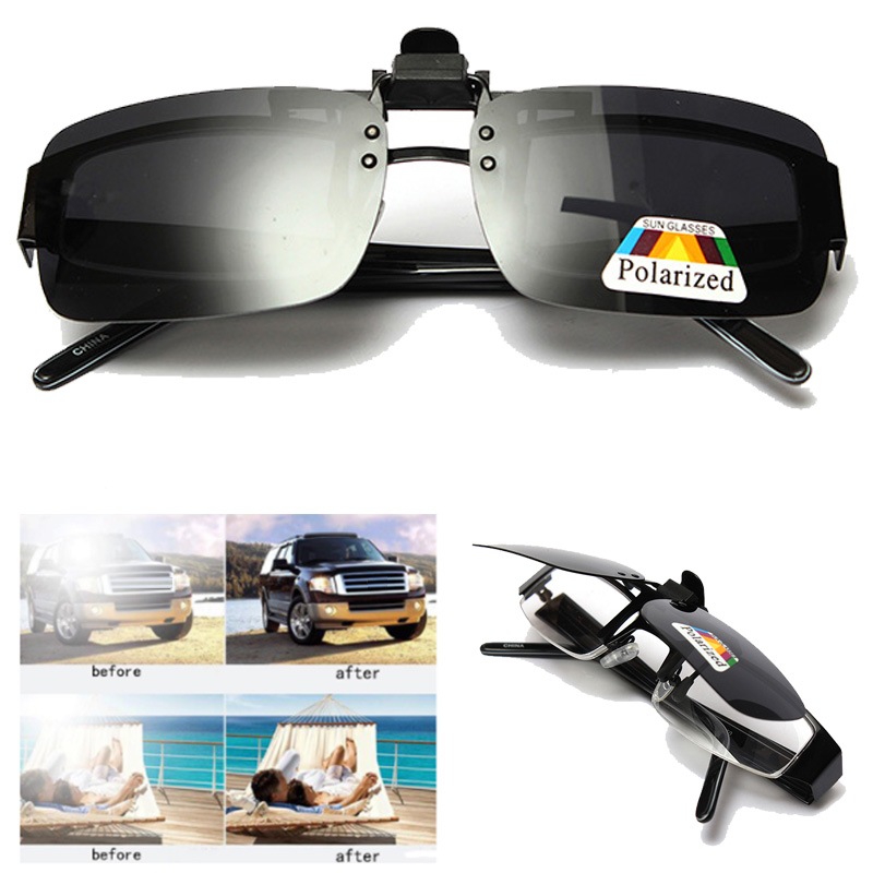 Unisex Polarized Clip On Sunglasses Near-Sighted Driving Night Vision Lens Anti-UVA Anti-UVB Cycling Fishing Sunglasses Clip