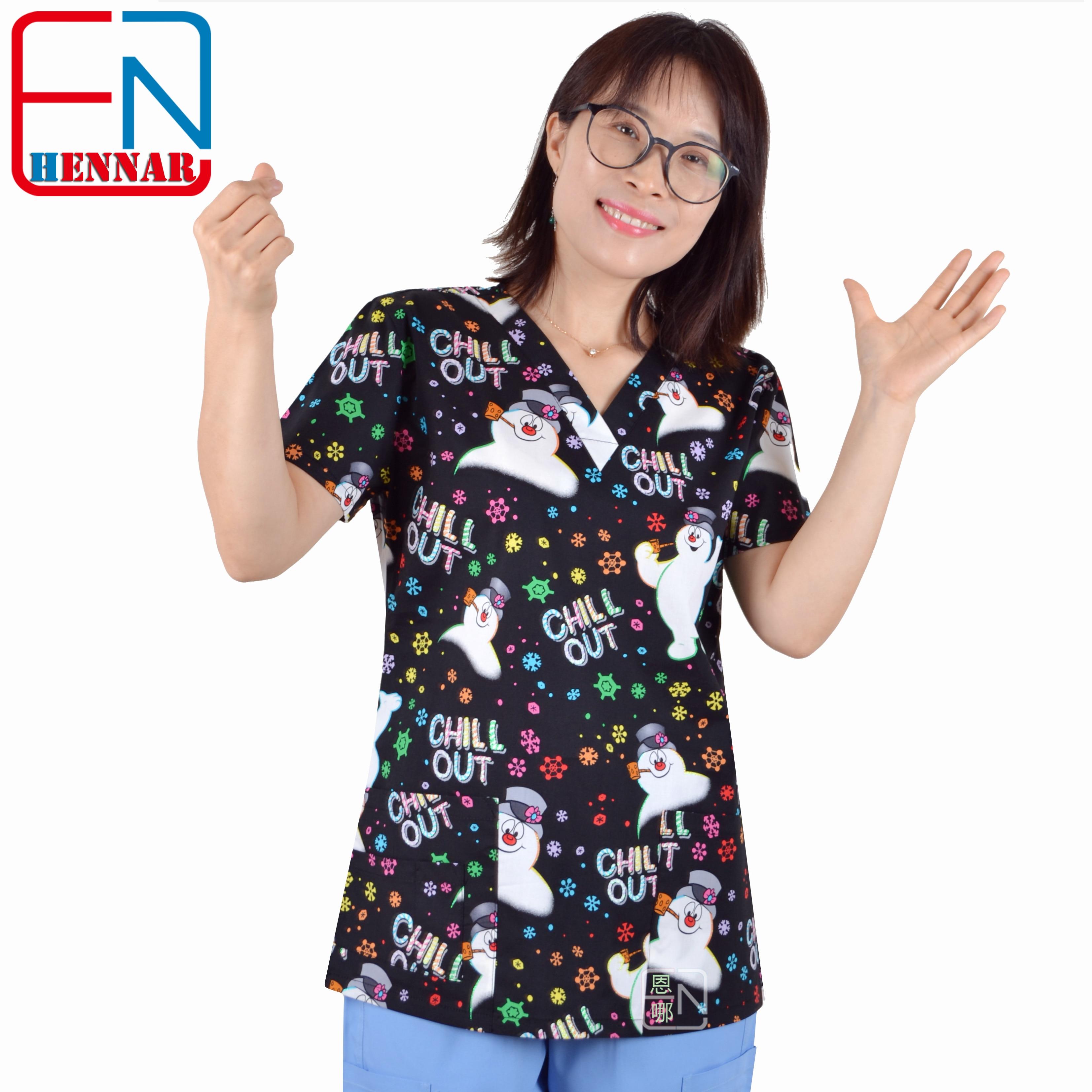 Brand Medical Scrub Tops For Women Surgical Scrubs,scrub Uniform In 100% Print Cotton Christmas Series