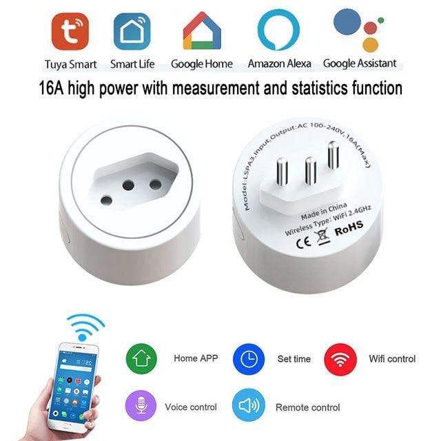 ברזיל Tuya WiFi חכם כוח תקע חשמל שקע אינטליגנטי קיבוץ שליטה בזמן אמת ניטור חריגות Alexa קול
