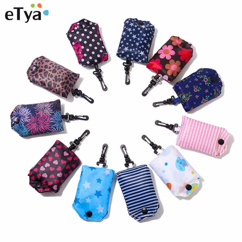 eTya Women Reusable Shopping Bag Foldable Bag Fashion Flower Printing Folding Recycle Handbags Home  Organization Tote Bag