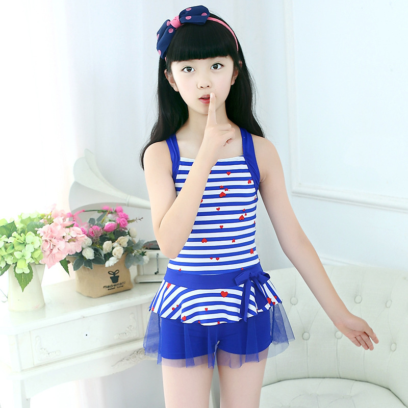 2018 New Style CHILDREN'S Swimsuit Girls Qmilch Korean-style Dress-Big Boy Yiwu Industrial Belt Swimming Suit