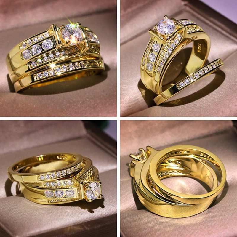 מלא יהלומי טבעת נשי זהב צבע חתונה טבעת עבור נשים גברים חן לבן טופז תכשיטים