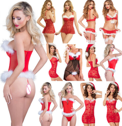 5 Styles Sexy Lingerie Babydoll Set Women Santa Fancy Dress Costume Cosplay Outfit Christmas Babydoll Erotic Lingerie